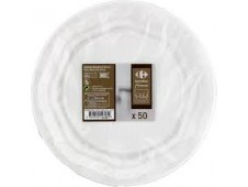 Assiettes blanches plastiques 22 cms Grand Jury x50-